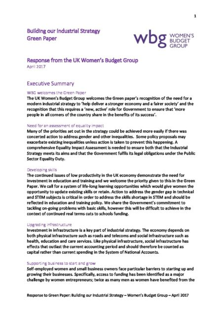 industrial strategy wbg response april 2017 womens budget group