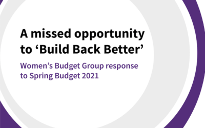 A missed opportunity to 'Build Back Better' Our response to the Spring Budget 2021